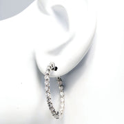 14kt White Gold Inside-Out Diamond Hoop Earrings