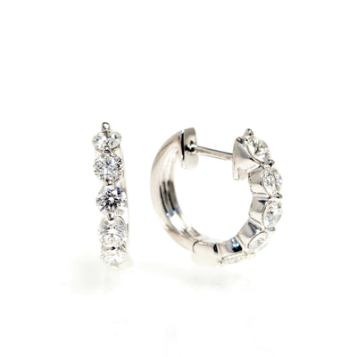 18kt White Gold Diamond Huggie Earrings