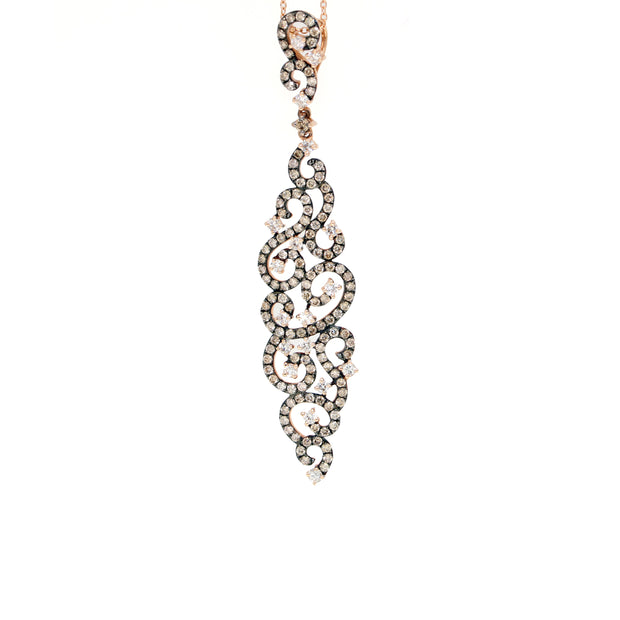 14K Rose Gold Diamond Pendant Necklace