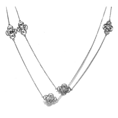 14kt White Gold Diamond Station Necklace, 36""