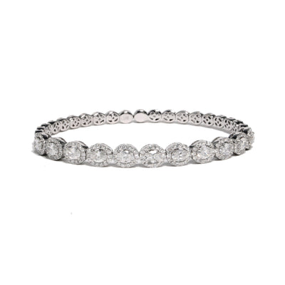 18K White Gold  Oval Halo Diamond Bangle Bracelet