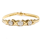 14K Yellow Vintage Gold Omega Bracelet with 18K Diamond Slides
