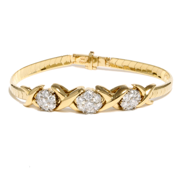 14kt Yellow Gold Omega Bracelet With 18kt Two Tone Diamond Slides