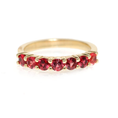 14kt Yellow Gold  Red Spinel Band