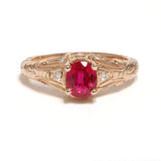 14kt Rose Gold Ruby And Diamond Ring