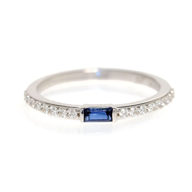 14kt White Gold Sapphire And Diamond Ring