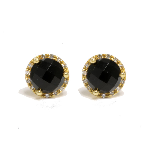 14kt Yellow Gold Black Agate Round Halo Stud Earrings