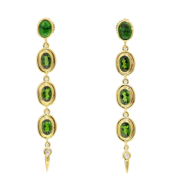 14kt Yellow Gold Chrome Diopside And Diamond Drop Earrings