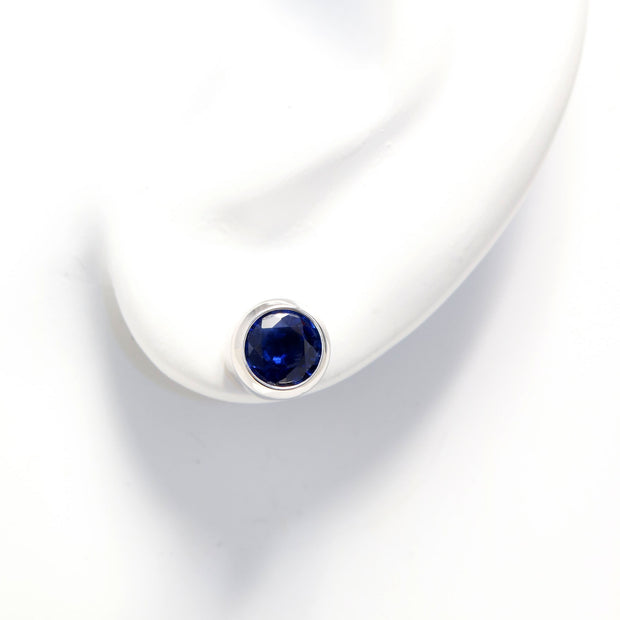 14K White Gold Sapphire Bezel Set Stud Earrings