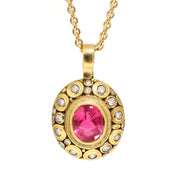 18K Yellow Gold Pink Tourmaline Pendant