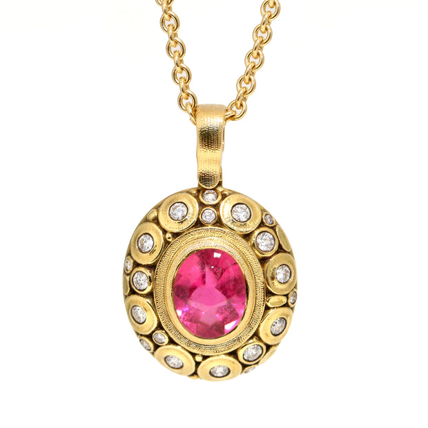18K Yellow Gold Pink Tourmaline Pendant with Necklace