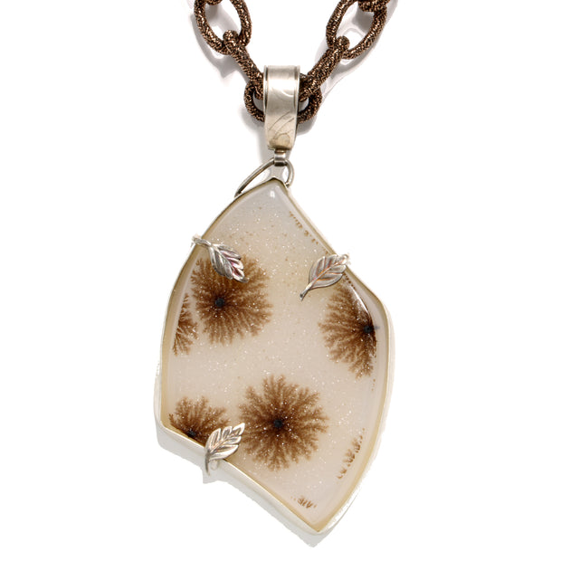 Sterling Silver Druzy Quartz Free Form Pendant  With Natural Rutile Snowflake Inclusions, Oxidized Leaf Accents