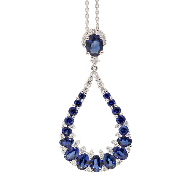 18kt White Gold Sapphire And Diamond Pendant