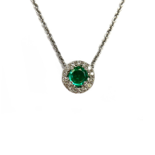 14K White Gold Emerald And Diamond Halo Necklace