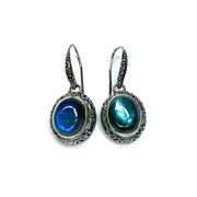 Sterling Silver Balinese Style Labradorite Earrings