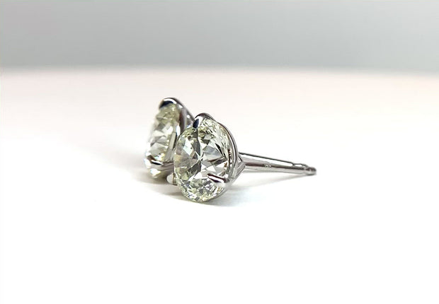 14K White Gold Diamond Martini Studs = 2.81 ctw