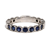 18kt White Gold Bezel Sapphire And Diamond Band