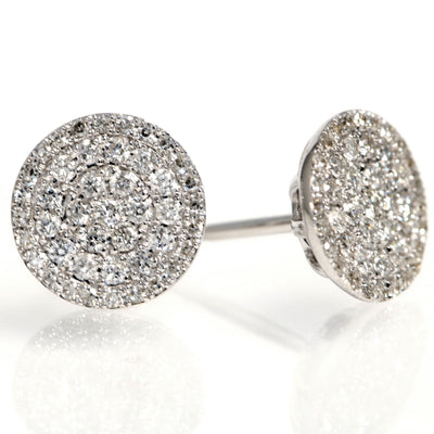 14K WHITE GOLD PAVE DIAMOND SINGLE CUT EARRING