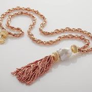 'Quincy' Rose Gold Plated Hematite Tassel by Clara Williams Company