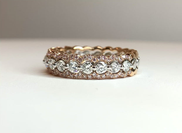 18K Rose And White Gold Diamond Band