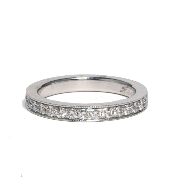 18kt White Gold 3/4 Channel Set Milgrained Band