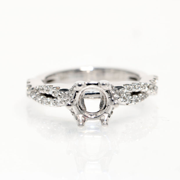 14kt White Gold Diamond Infinity Weave  Semi-Mounting