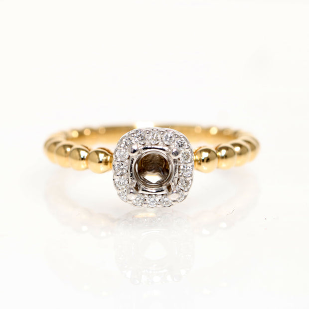 14kt Yellow And White Gold Diamond Semi-Mounting