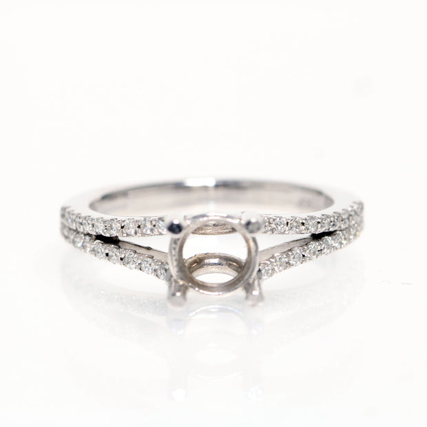14kt White Gold Split Shank Diamond Semi-Mounting