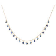 18K Yellow Gold Sapphire Dangle Necklace