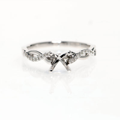 14kt White Gold Twisted Diamond Semi-Mounting