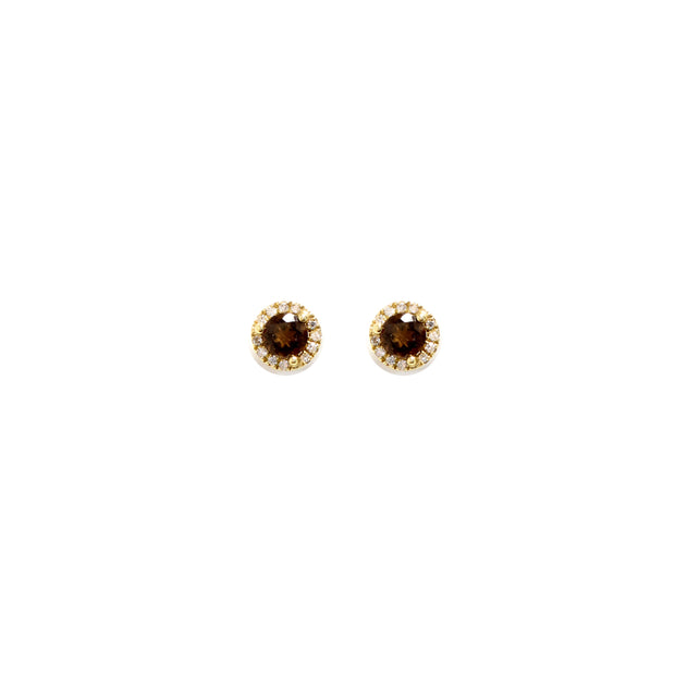 14K YELLOW GOLD SMOKEY QUARTZ AN DIAMOND EARRINGS