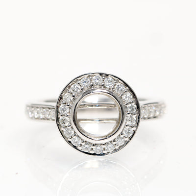 14kt White Gold Halo Diamond Semi Mounting