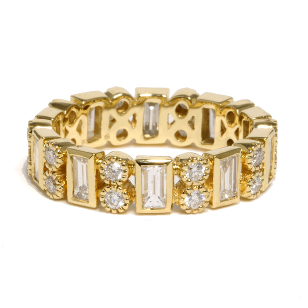 18kt Yellow Gold  Bezel Diamond Band