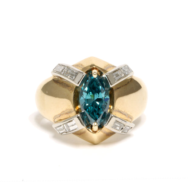 14K Yellow Gold Irradiated Blue-Green Marquise Diamond Ring