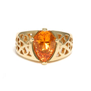 14K Yellow Gold Spessartite Garnet Ring