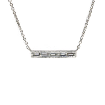 18kt White Gold Horizontal Diamond Bar Necklace
