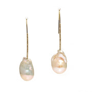 14K Yellow Gold Baroque Pearl And Diamond Earrings