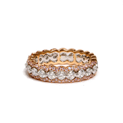 18kt Rose And White Gold Diamond Band