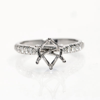 14kt White Gold French Cut Down Royal Crown Semi-Mounting