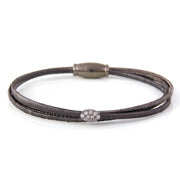 Luca 3 Row Flexible Metal Bracelet in Black