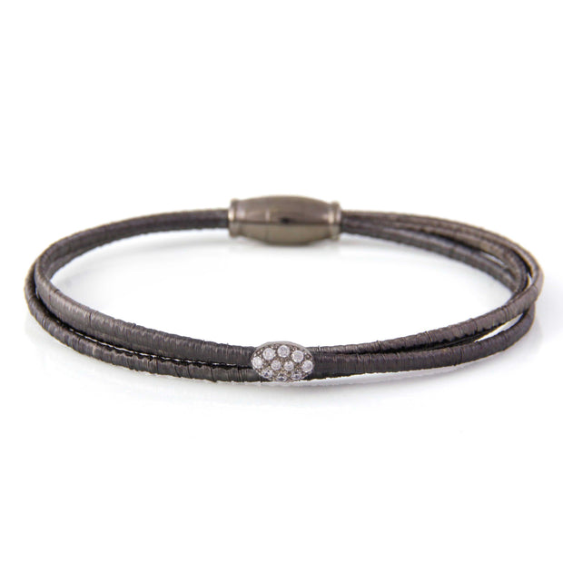 Luca 3 Row Flexible Metal Bracelet in Black Vermeil With White Sapphires