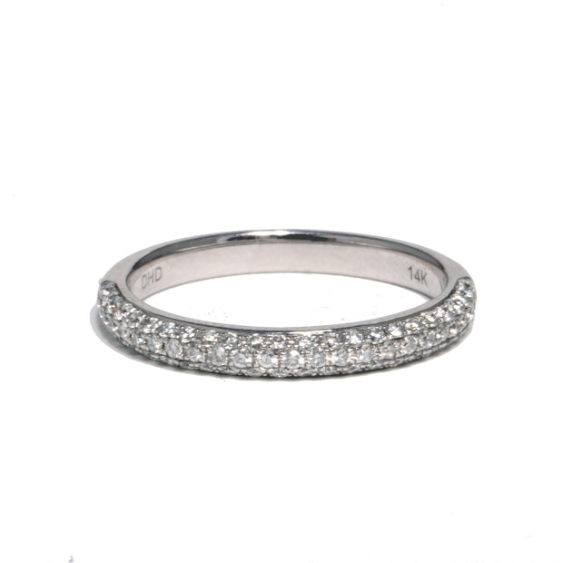 14kt White Gold Micro Pave Diamond Band