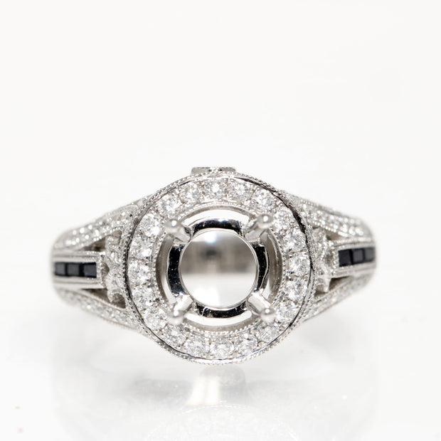 18kt White Gold Halo Diamond And  Sapphire 'Vintage' Semi-Mounting