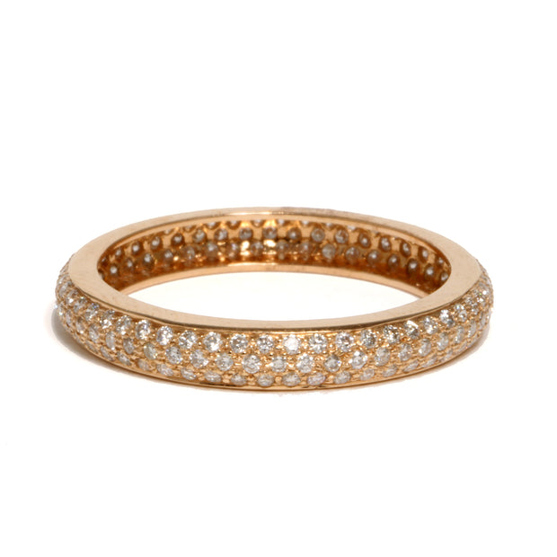 18kt Rose Gold Pave Diamond 'Tire' Band
