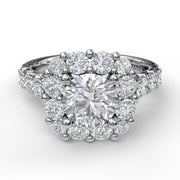 14K White Gold Diamond Halo Semi-Mounting