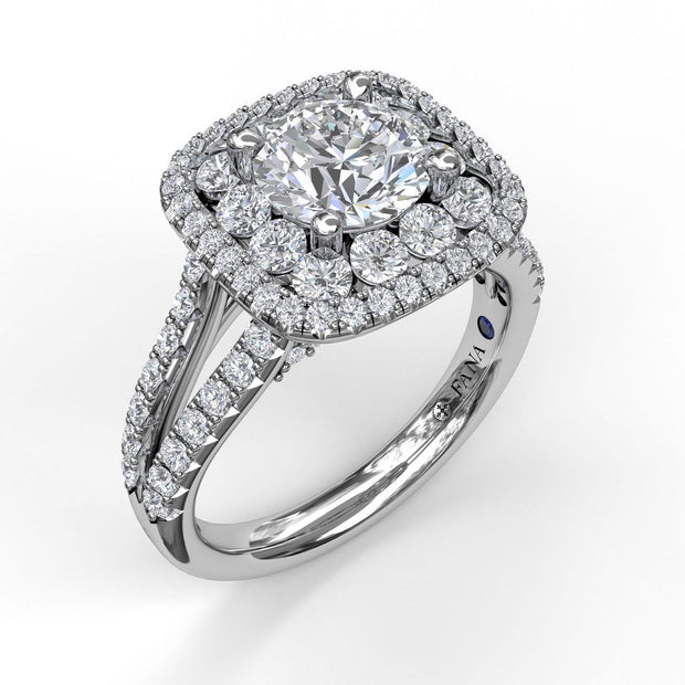 14K White Gold Diamond Double Halo Semi-Mounting