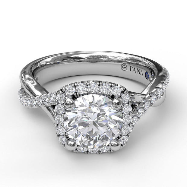 14K White Gold Diamond Halo With Twist Semi-Mounting