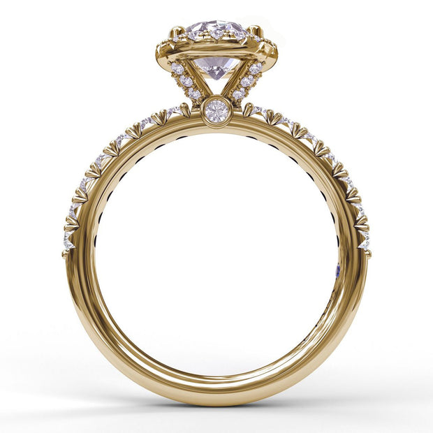 14K Yellow Gold Diamond Halo Semi-Mounting