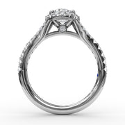 14K White Gold Spilt Shank halo Semi-Mounting