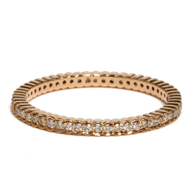 18kt Rose Gold Diamond Scalloped Band